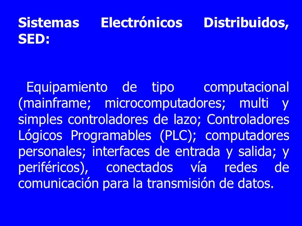 Sistemas Electrónicos Distribuidos, SED: Equipamiento de tipo computacional (mainframe; microcomputadores; multi y simples controladores de lazo; Cont