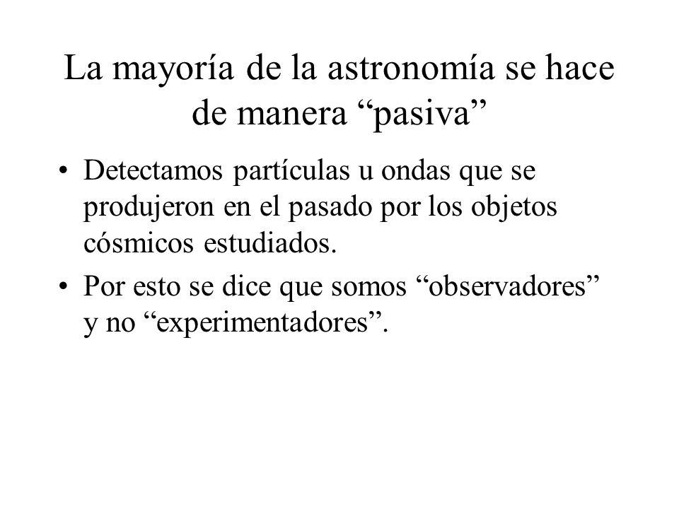 La mayoría de la astronomía se hace de manera pasiva Detectamos partículas u ondas que se produjeron en el pasado por los objetos cósmicos estudiados.