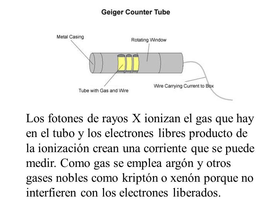 Los fotones de rayos X ionizan el gas que hay en el tubo y los electrones libres producto de la ionización crean una corriente que se puede medir. Com