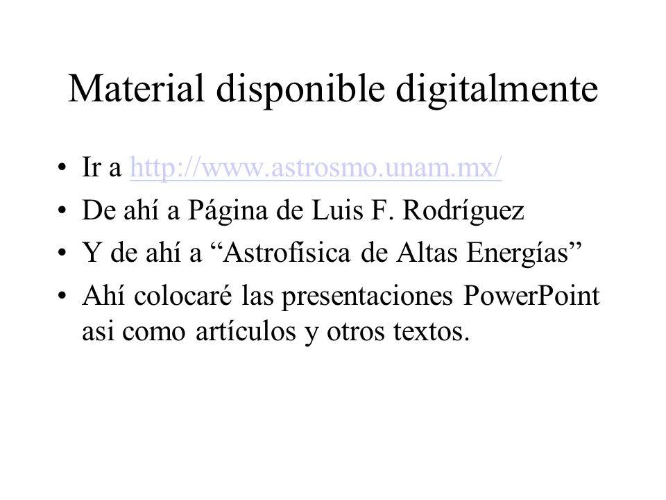 Material disponible digitalmente Ir a http://www.astrosmo.unam.mx/http://www.astrosmo.unam.mx/ De ahí a Página de Luis F. Rodríguez Y de ahí a Astrofí