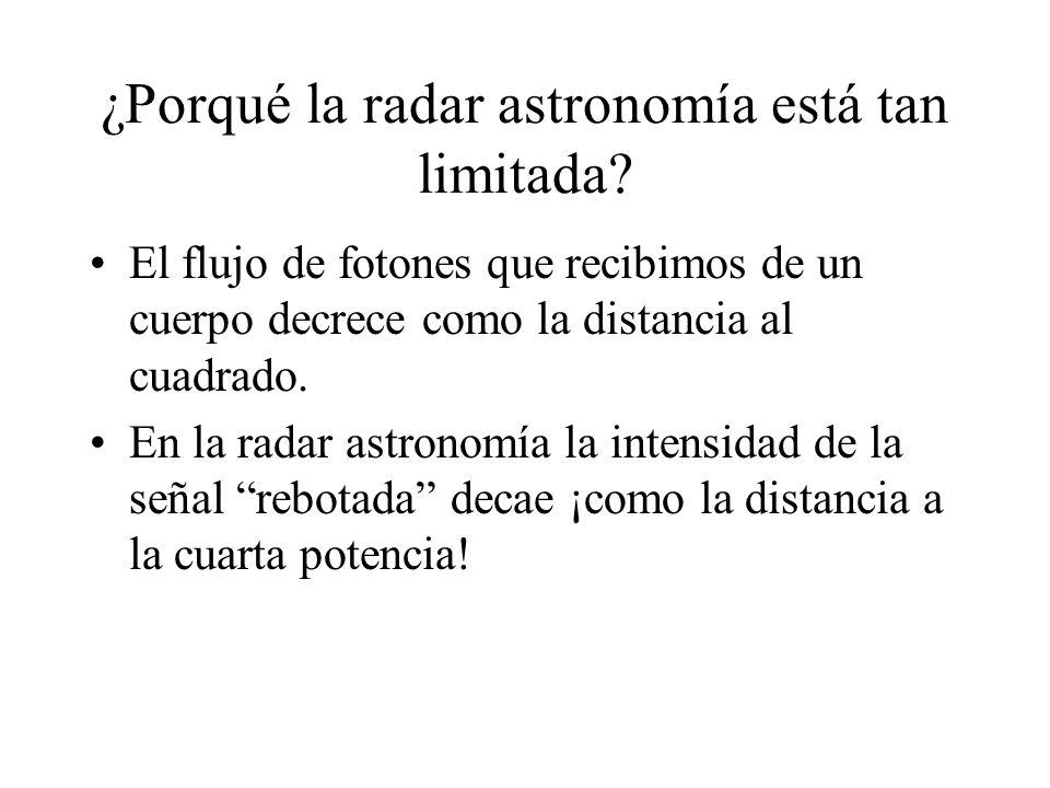 ¿Porqué la radar astronomía está tan limitada? El flujo de fotones que recibimos de un cuerpo decrece como la distancia al cuadrado. En la radar astro