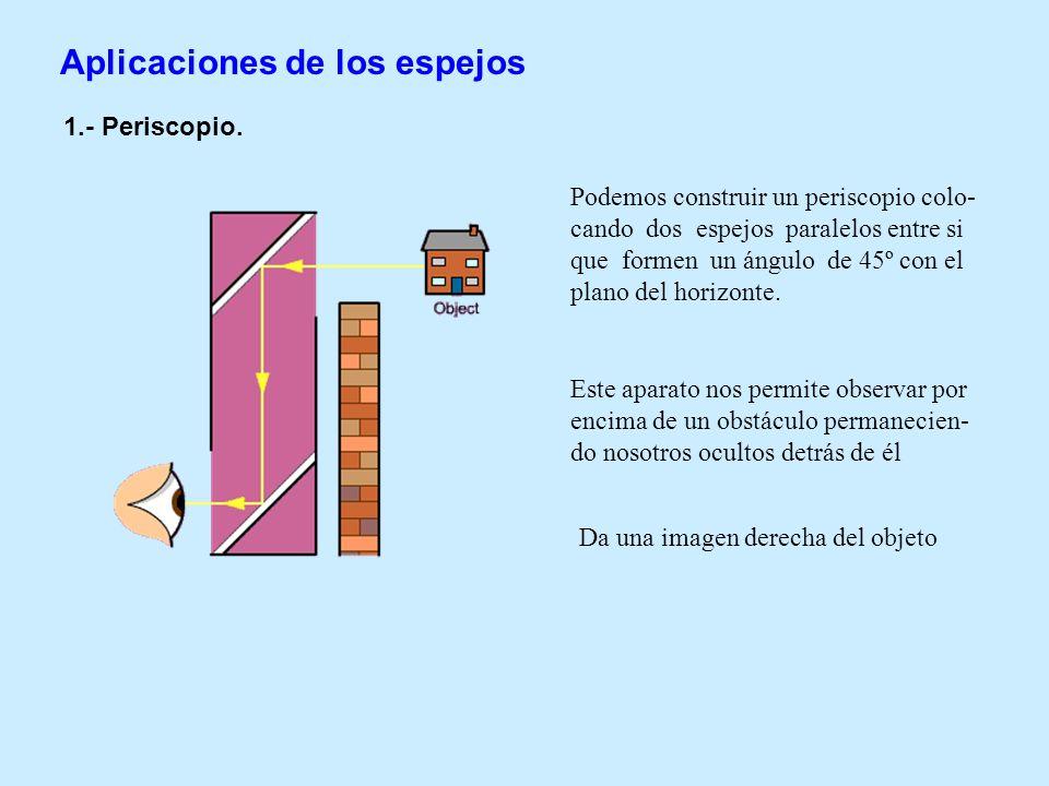 Aplicaciones de los espejos 1.- Periscopio. Podemos construir un periscopio colo- cando dos espejos paralelos entre si que formen un ángulo de 45º con