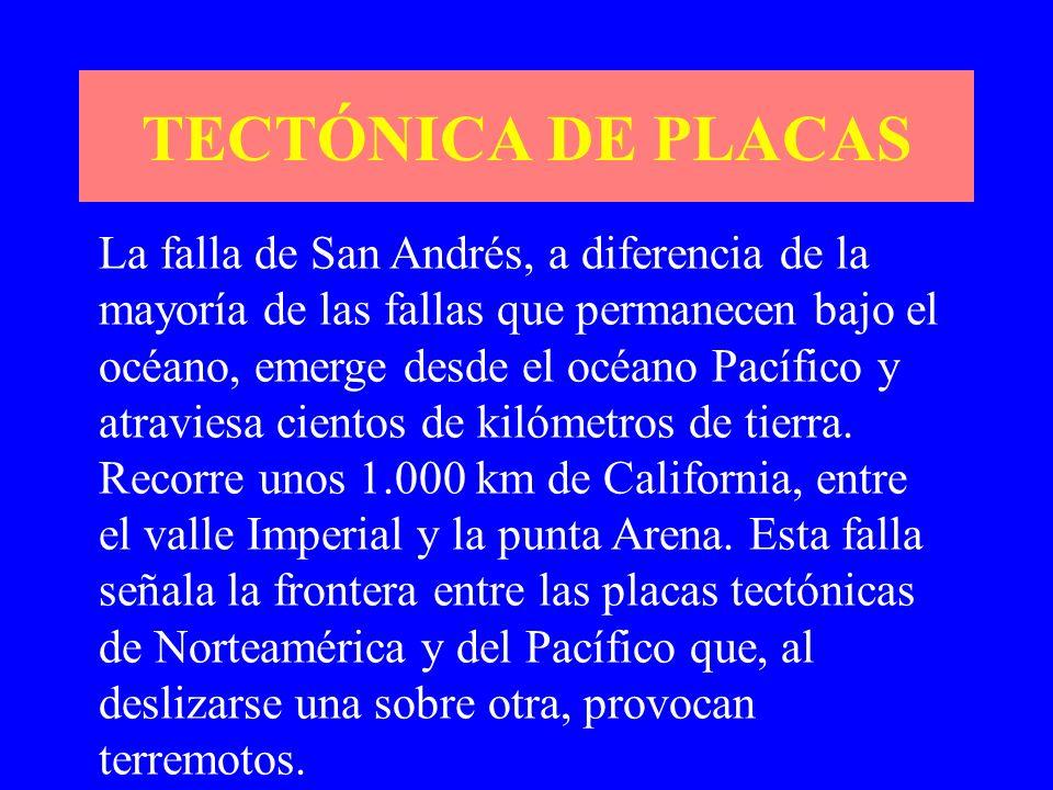 La falla de San Andrés, a diferencia de la mayoría de las fallas que permanecen bajo el océano, emerge desde el océano Pacífico y atraviesa cientos de