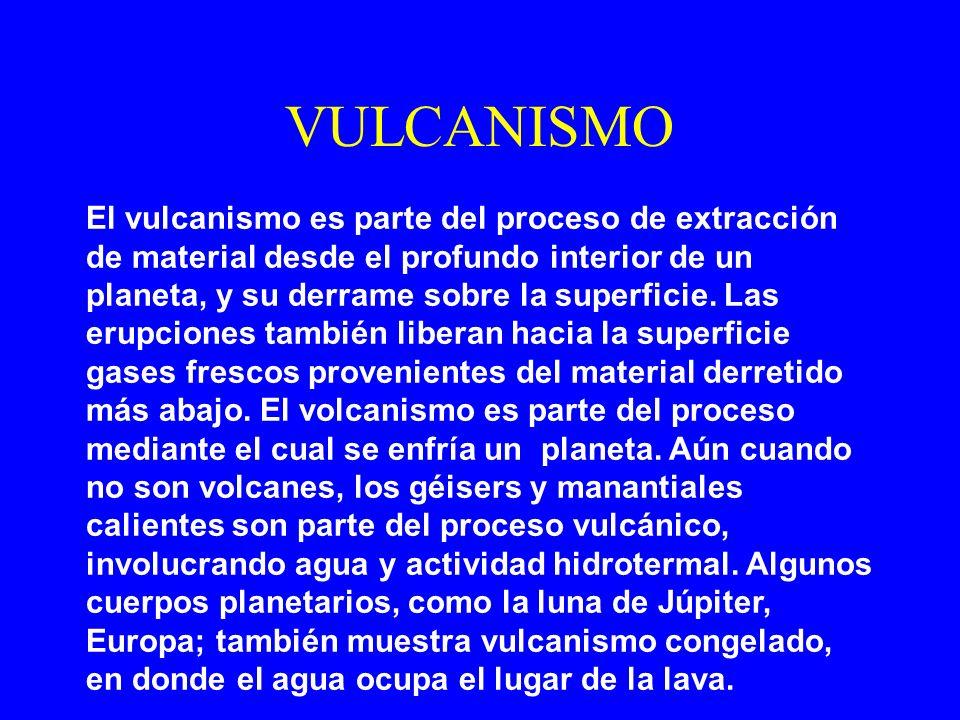VULCANISMO El vulcanismo es parte del proceso de extracción de material desde el profundo interior de un planeta, y su derrame sobre la superficie. La