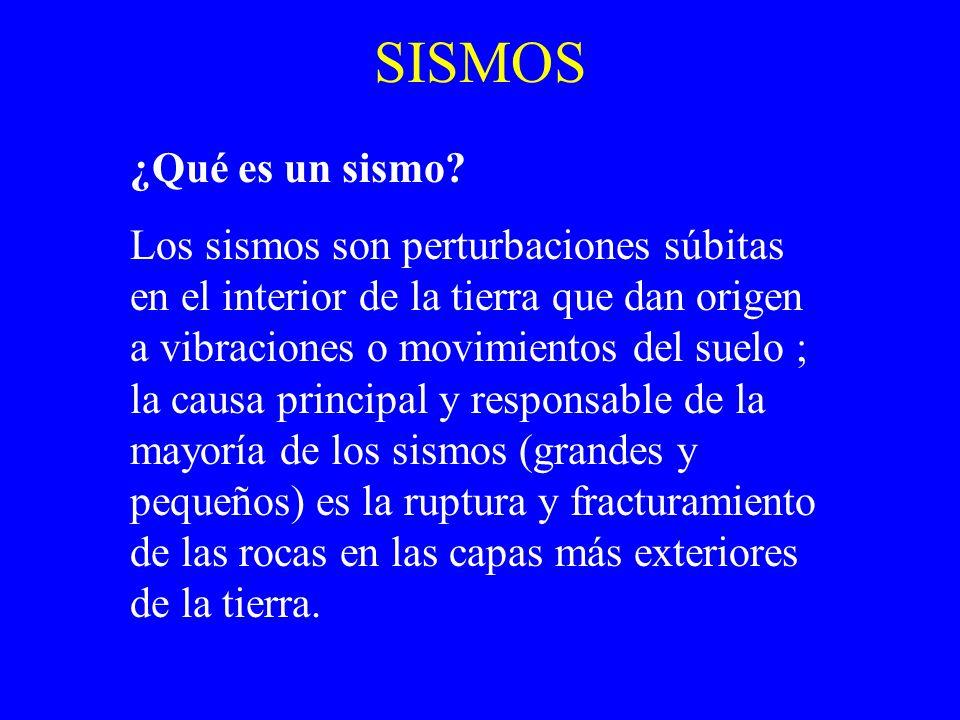 SISMOS ¿Qué es un sismo? Los sismos son perturbaciones súbitas en el interior de la tierra que dan origen a vibraciones o movimientos del suelo ; la c