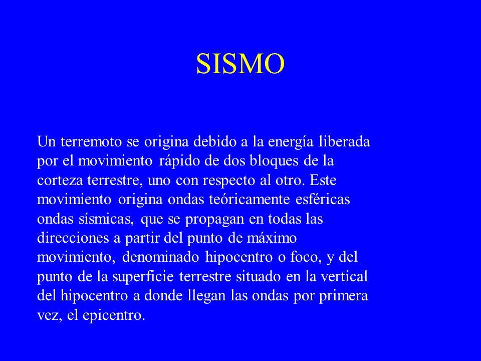 SISMO Un terremoto se origina debido a la energía liberada por el movimiento rápido de dos bloques de la corteza terrestre, uno con respecto al otro.