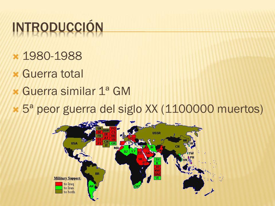 1980-1988 Guerra total Guerra similar 1ª GM 5ª peor guerra del siglo XX (1100000 muertos)