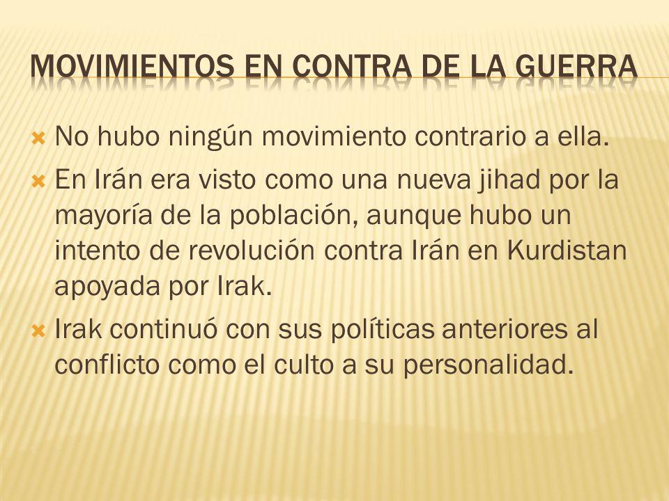 No hubo ningún movimiento contrario a ella. En Irán era visto como una nueva jihad por la mayoría de la población, aunque hubo un intento de revolució