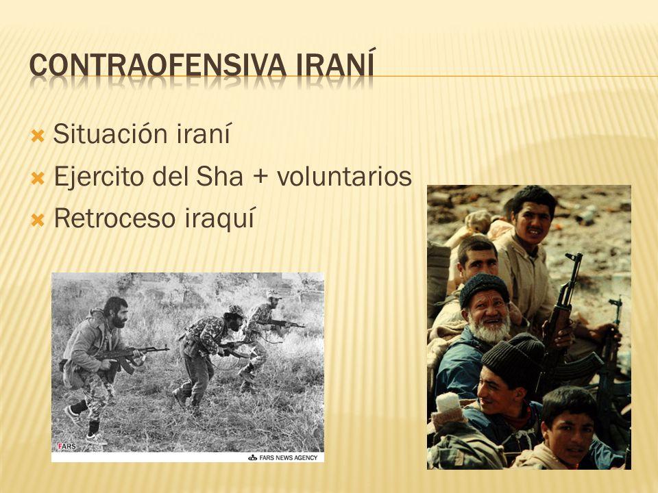 Situación iraní Ejercito del Sha + voluntarios Retroceso iraquí