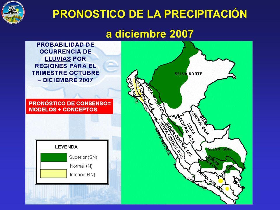 PRONOSTICO DE LA PRECIPITACIÓN a diciembre 2007
