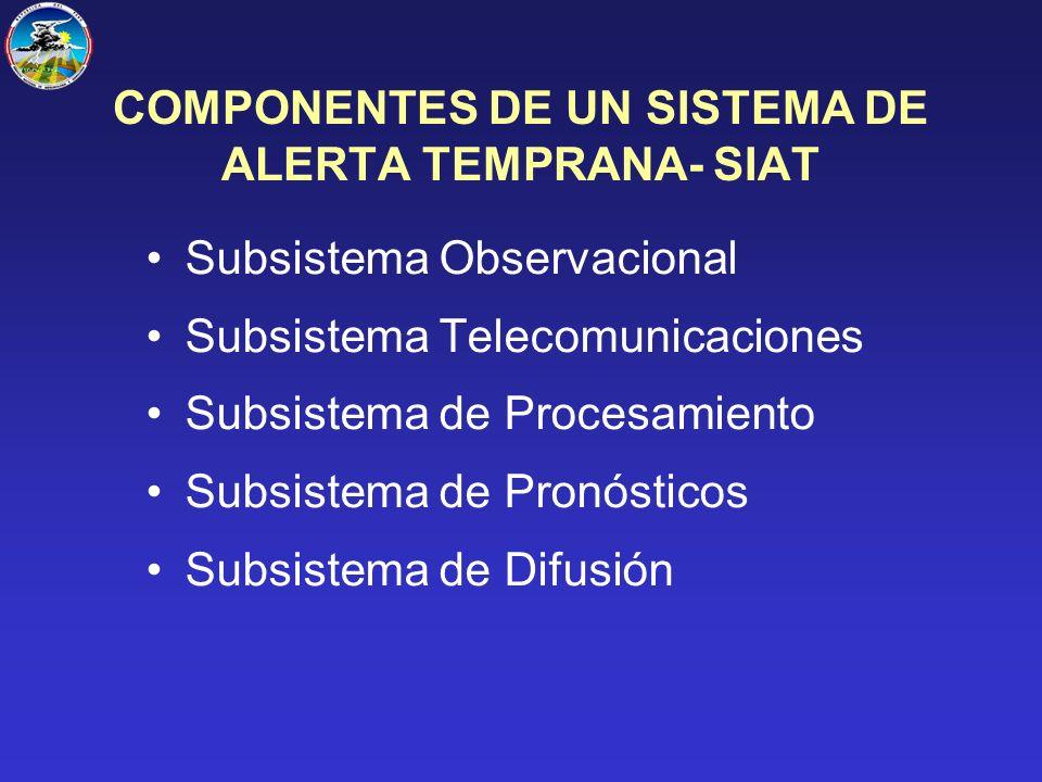 COMPONENTES DE UN SISTEMA DE ALERTA TEMPRANA- SIAT Subsistema Observacional Subsistema Telecomunicaciones Subsistema de Procesamiento Subsistema de Pronósticos Subsistema de Difusión