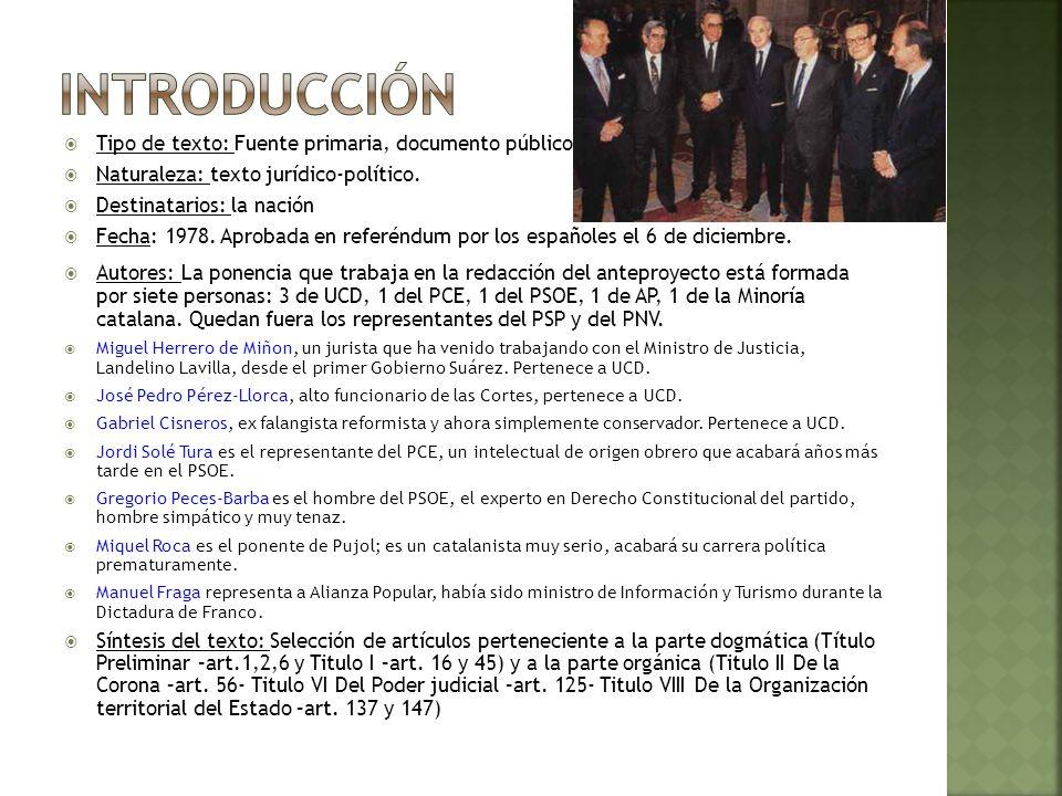 Hechos: Elecciones de junio 1977.Victoria de UCD seguido por PSOE.