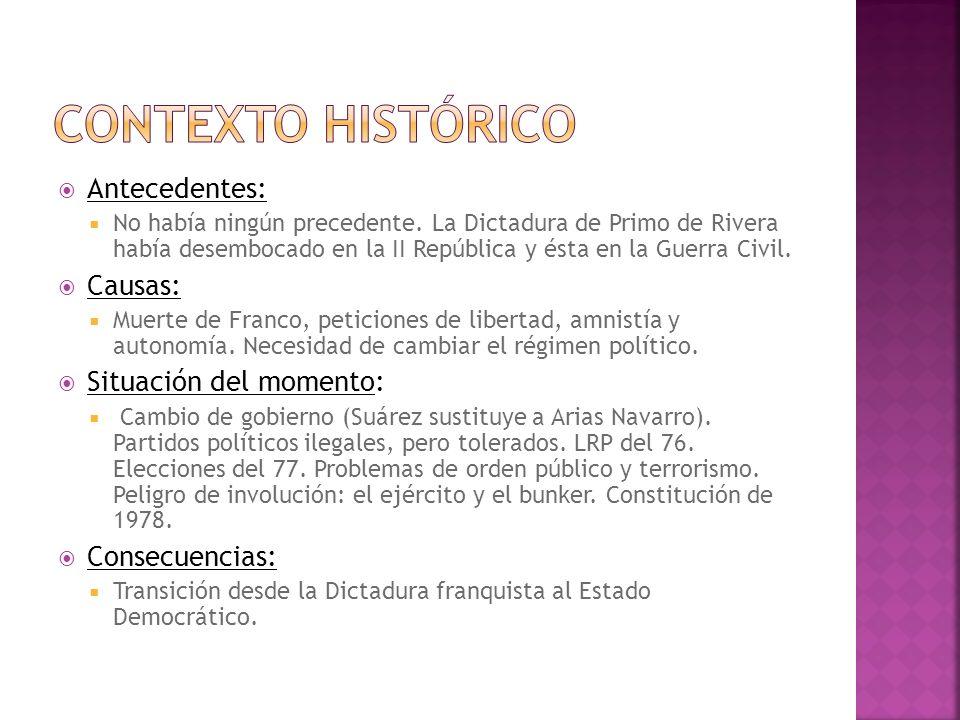 Antecedentes: No había ningún precedente. La Dictadura de Primo de Rivera había desembocado en la II República y ésta en la Guerra Civil. Causas: Muer