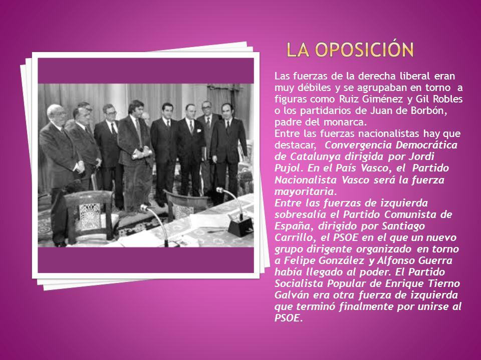 Las fuerzas de la derecha liberal eran muy débiles y se agrupaban en torno a figuras como Ruiz Giménez y Gil Robles o los partidarios de Juan de Borbó