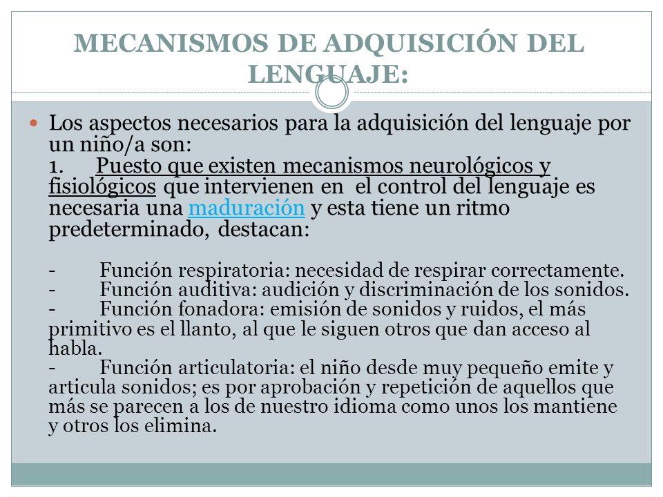 MECANISMOS DE ADQUISICIÓN DEL LENGUAJE: Los aspectos necesarios para la adquisición del lenguaje por un niño/a son: 1.