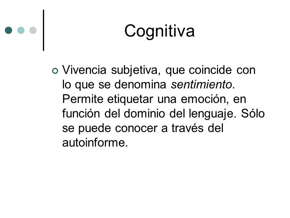 Cognitiva Vivencia subjetiva, que coincide con lo que se denomina sentimiento. Permite etiquetar una emoción, en función del dominio del lenguaje. Sól