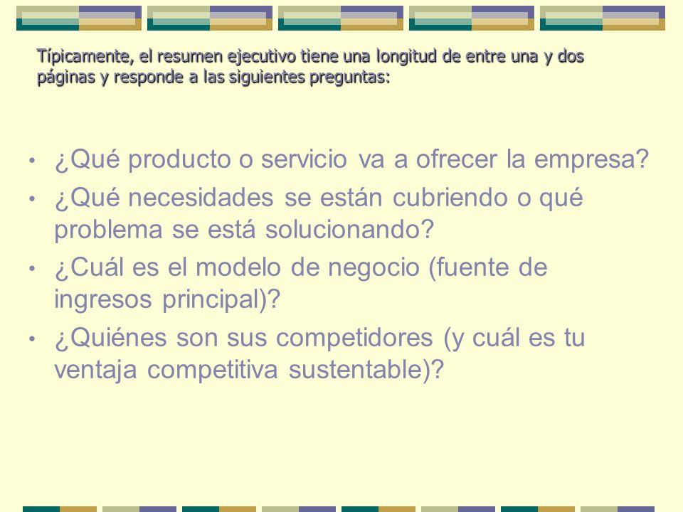 ¿Qué producto o servicio va a ofrecer la empresa? ¿Qué necesidades se están cubriendo o qué problema se está solucionando? ¿Cuál es el modelo de negoc