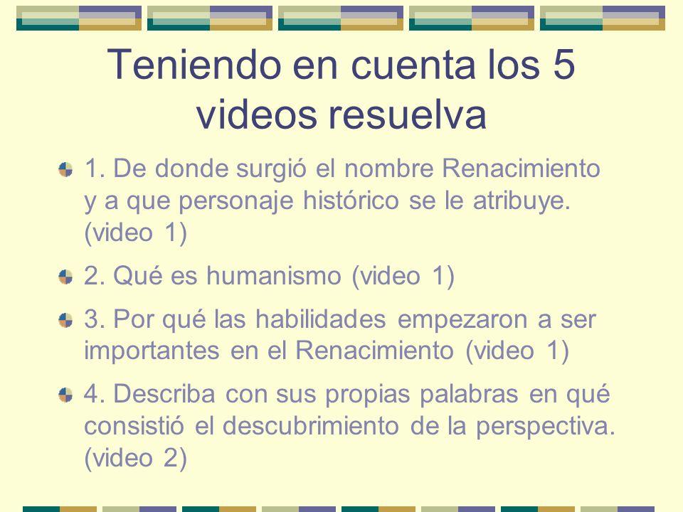 Teniendo en cuenta los 5 videos resuelva 1. De donde surgió el nombre Renacimiento y a que personaje histórico se le atribuye. (video 1) 2. Qué es hum