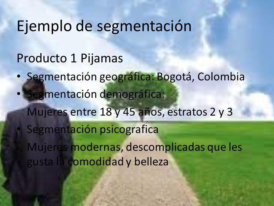 Ejemplo de segmentación Producto 1 Pijamas Segmentación geográfica: Bogotá, Colombia Segmentación demográfica: Mujeres entre 18 y 45 años, estratos 2
