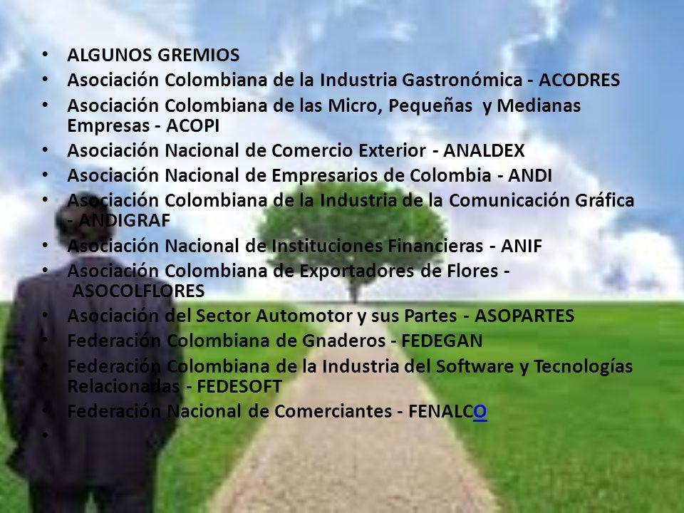 ALGUNOS GREMIOS Asociación Colombiana de la Industria Gastronómica - ACODRES Asociación Colombiana de las Micro, Pequeñas y Medianas Empresas - ACOPI