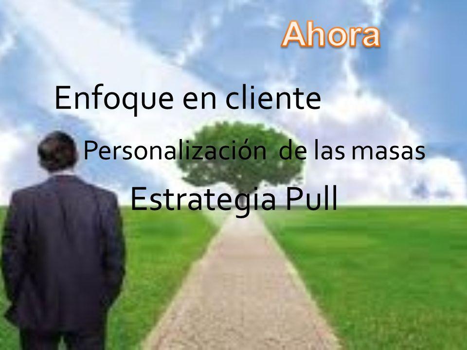 Enfoque en cliente Personalización de las masas Estrategia Pull