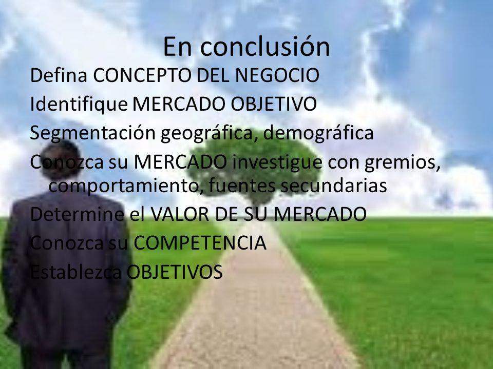 En conclusión Defina CONCEPTO DEL NEGOCIO Identifique MERCADO OBJETIVO Segmentación geográfica, demográfica Conozca su MERCADO investigue con gremios,