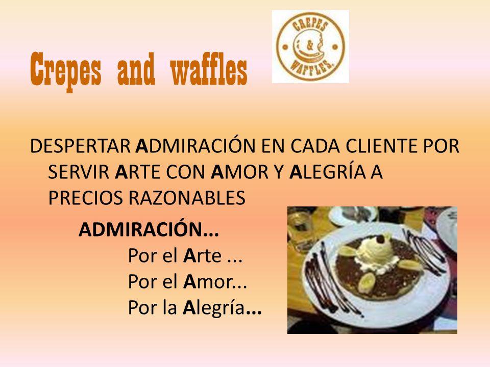 Crepes and waffles DESPERTAR ADMIRACIÓN EN CADA CLIENTE POR SERVIR ARTE CON AMOR Y ALEGRÍA A PRECIOS RAZONABLES ADMIRACIÓN... Por el Arte... Por el Am