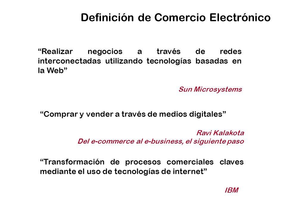 Definición de Comercio Electrónico Realizar negocios a través de redes interconectadas utilizando tecnologías basadas en la Web Sun Microsystems Compr