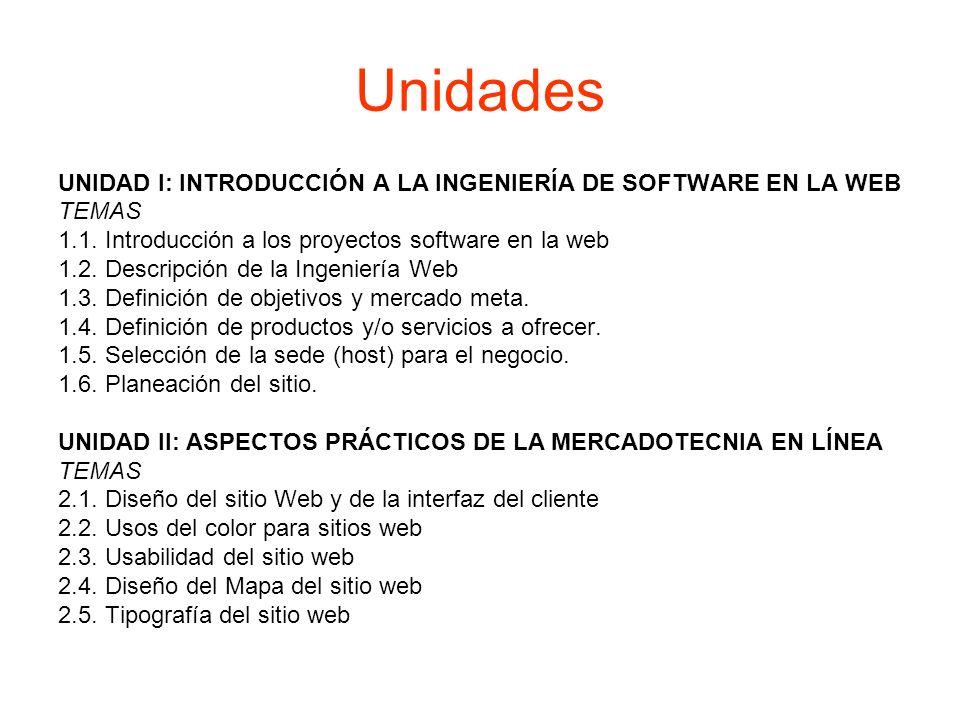 Unidades UNIDAD I: INTRODUCCIÓN A LA INGENIERÍA DE SOFTWARE EN LA WEB TEMAS 1.1. Introducción a los proyectos software en la web 1.2. Descripción de l