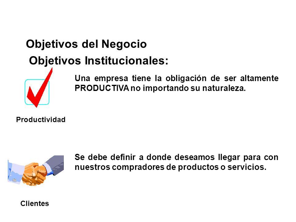 Objetivos del Negocio Productividad Una empresa tiene la obligación de ser altamente PRODUCTIVA no importando su naturaleza. Se debe definir a donde d