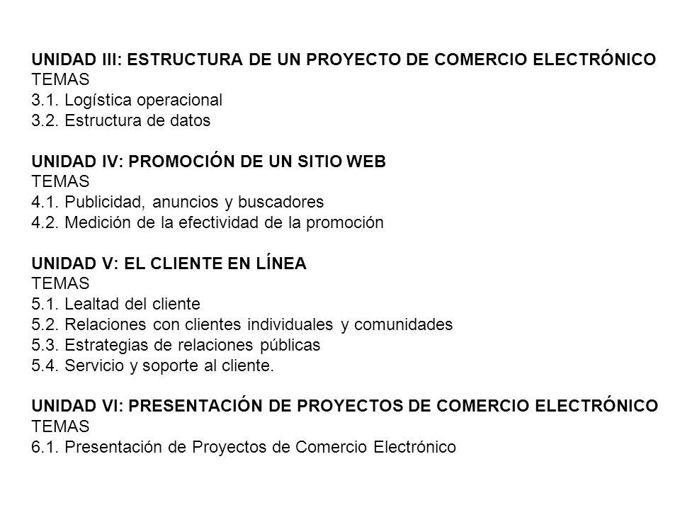 UNIDAD III: ESTRUCTURA DE UN PROYECTO DE COMERCIO ELECTRÓNICO TEMAS 3.1. Logística operacional 3.2. Estructura de datos UNIDAD IV: PROMOCIÓN DE UN SIT