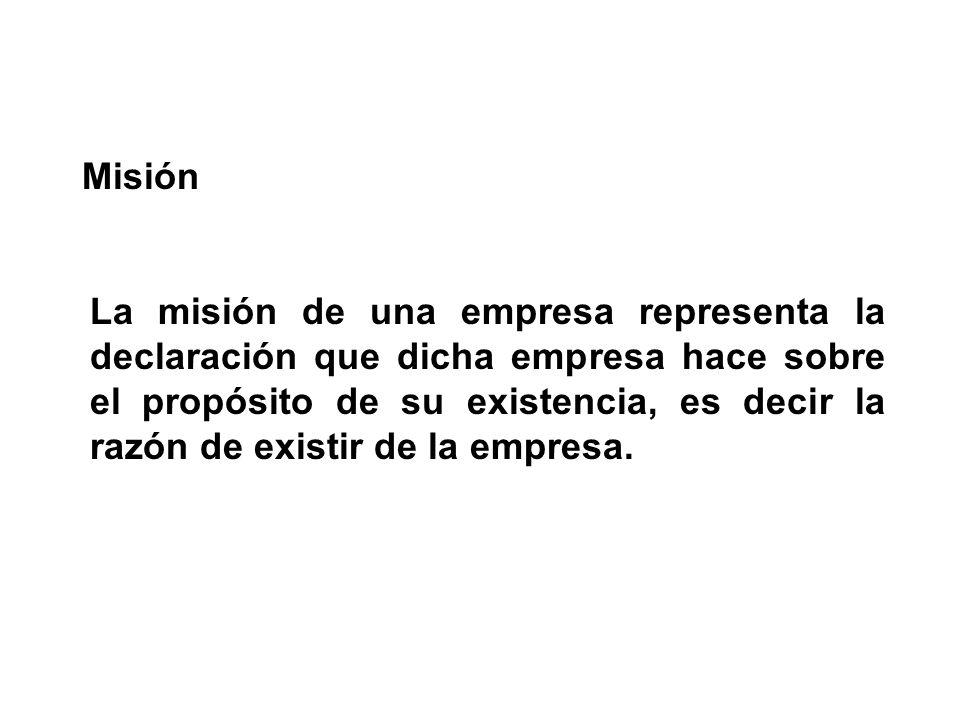 La misión de una empresa representa la declaración que dicha empresa hace sobre el propósito de su existencia, es decir la razón de existir de la empr