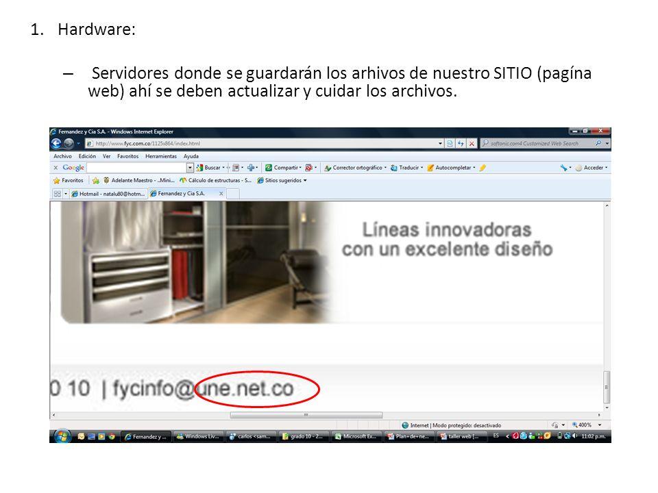 1.Hardware: – Servidores donde se guardarán los arhivos de nuestro SITIO (pagína web) ahí se deben actualizar y cuidar los archivos.