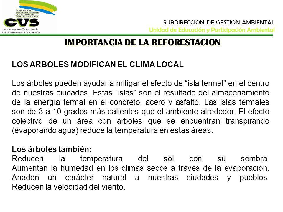 IMPORTANCIA DE LA REFORESTACION LOS ARBOLES MODIFICAN EL CLIMA LOCAL Los árboles pueden ayudar a mitigar el efecto de isla termal en el centro de nues
