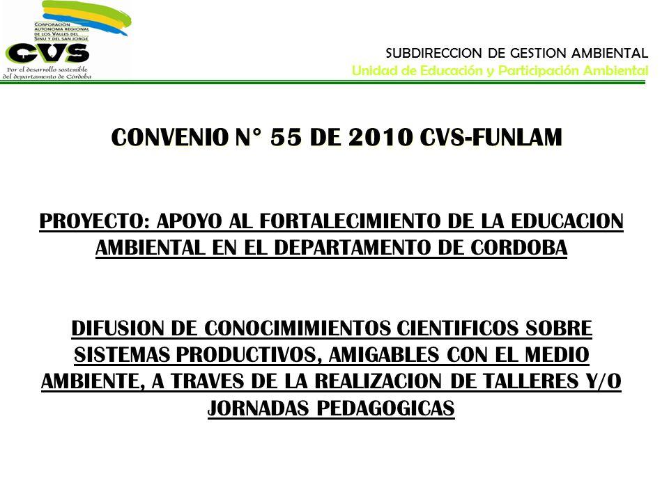CONVENIO N° 55 DE 2010 CVS-FUNLAM PROYECTO: APOYO AL FORTALECIMIENTO DE LA EDUCACION AMBIENTAL EN EL DEPARTAMENTO DE CORDOBA DIFUSION DE CONOCIMIMIENT