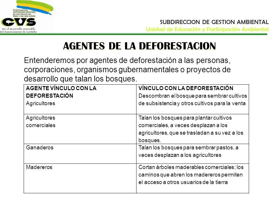 AGENTES DE LA DEFORESTACION Entenderemos por agentes de deforestación a las personas, corporaciones, organismos gubernamentales o proyectos de desarro
