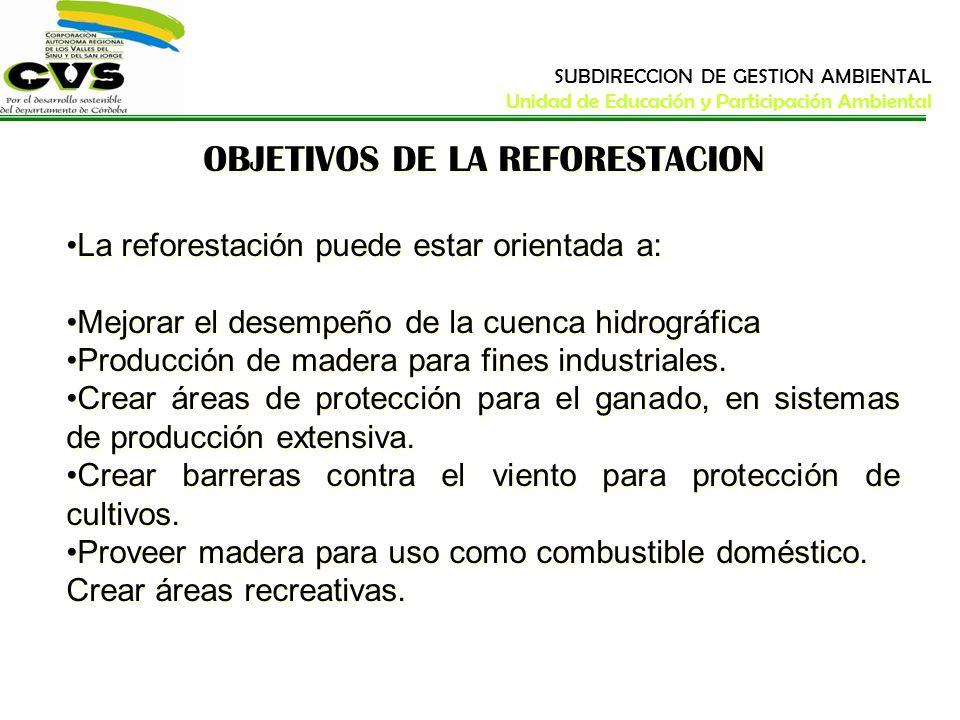OBJETIVOS DE LA REFORESTACION La reforestación puede estar orientada a: Mejorar el desempeño de la cuenca hidrográfica Producción de madera para fines