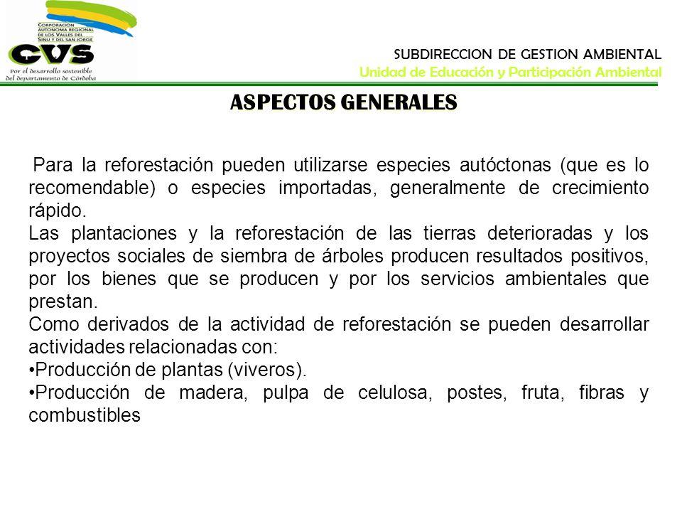 ASPECTOS GENERALES Para la reforestación pueden utilizarse especies autóctonas (que es lo recomendable) o especies importadas, generalmente de crecimi