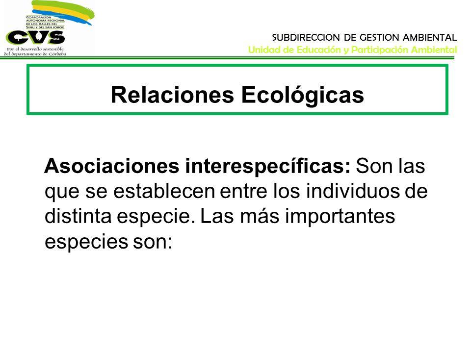 SUBDIRECCION DE GESTION AMBIENTAL Unidad de Educación y Participación Ambiental Relaciones Ecológicas Asociaciones interespecíficas: Son las que se es
