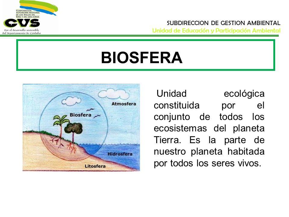 SUBDIRECCION DE GESTION AMBIENTAL Unidad de Educación y Participación Ambiental BIOSFERA Unidad ecológica constituida por el conjunto de todos los eco