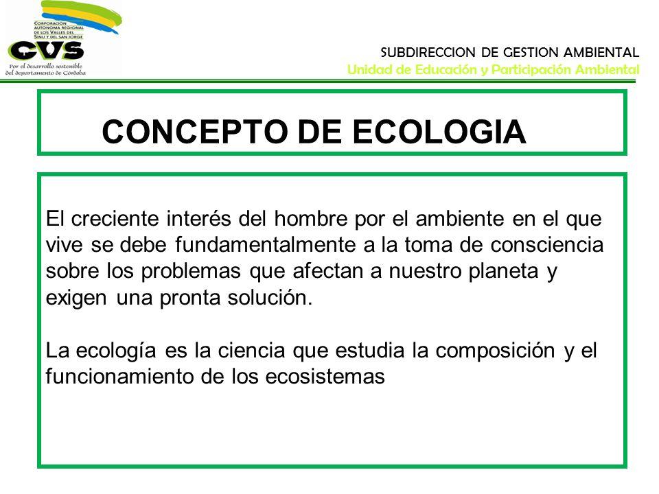 SUBDIRECCION DE GESTION AMBIENTAL Unidad de Educación y Participación Ambiental Los seres vivos están en permanente contacto entre sí y con el ambiente físico en el que viven.