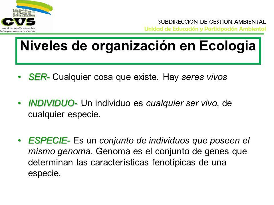 SUBDIRECCION DE GESTION AMBIENTAL Unidad de Educación y Participación Ambiental Niveles de Organización en Ecología POBLACIÓN-POBLACIÓN- Es un conjunto de individuos que pertenecen a la misma especie y que ocupan el mismo hábitat.