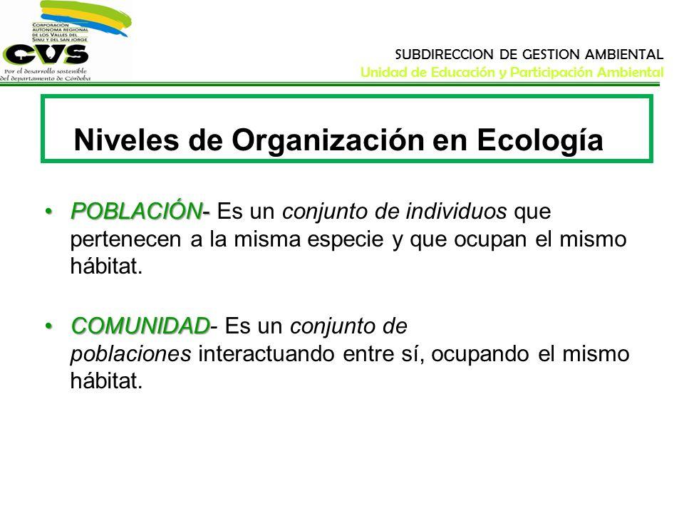 SUBDIRECCION DE GESTION AMBIENTAL Unidad de Educación y Participación Ambiental Niveles de Organización en Ecología POBLACIÓN-POBLACIÓN- Es un conjunt