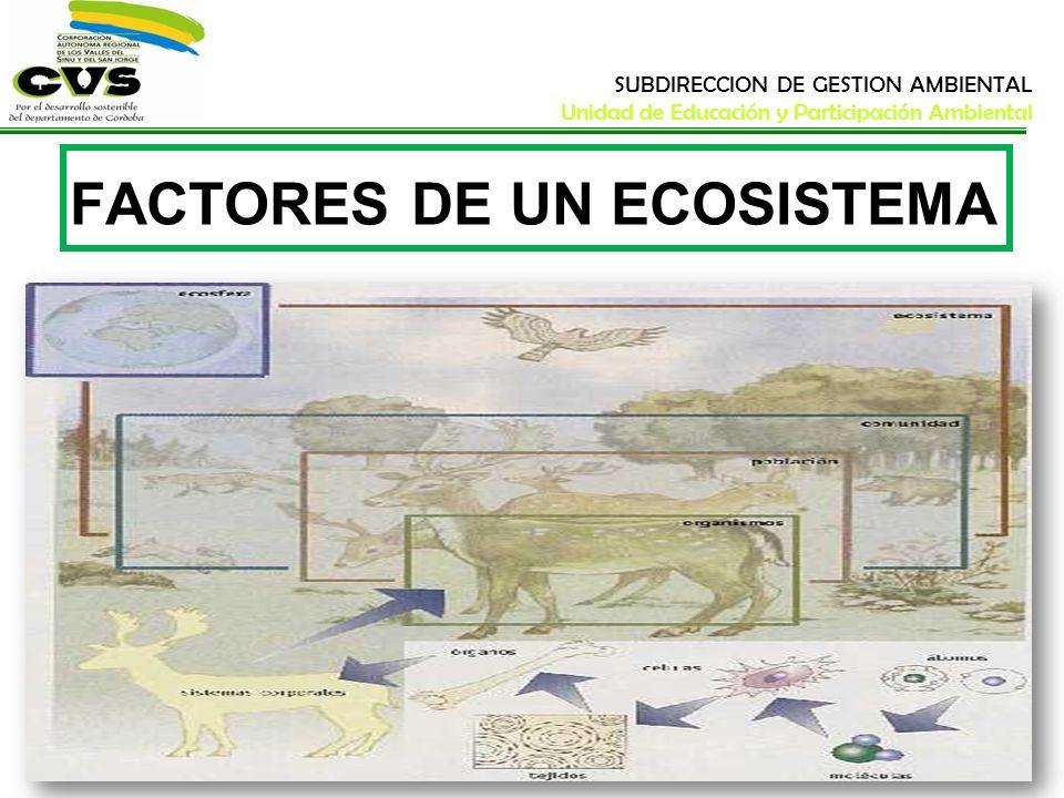 SUBDIRECCION DE GESTION AMBIENTAL Unidad de Educación y Participación Ambiental FACTORES DE UN ECOSISTEMA Todo aquello que caracteriza a los componentes de un ecosistema se denomina factor.