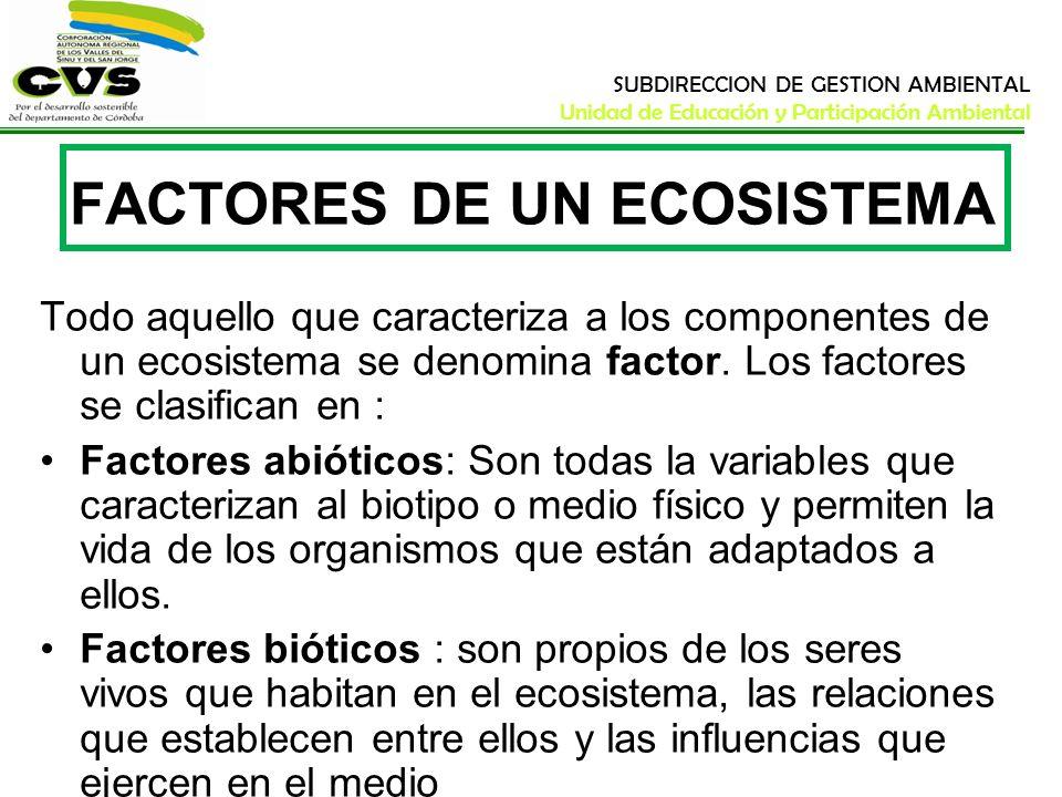 SUBDIRECCION DE GESTION AMBIENTAL Unidad de Educación y Participación Ambiental FACTORES DE UN ECOSISTEMA Todo aquello que caracteriza a los component