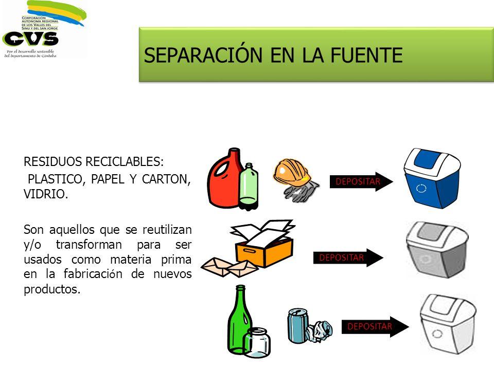 RESIDUOS RECICLABLES: PLASTICO, PAPEL Y CARTON, VIDRIO. Son aquellos que se reutilizan y/o transforman para ser usados como materia prima en la fabric