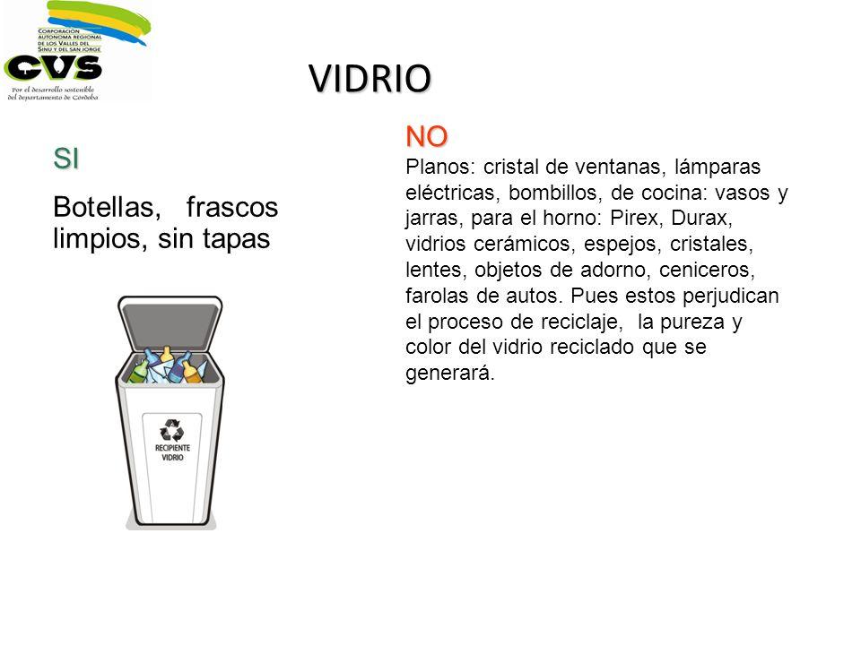 VIDRIO SI Botellas, frascos limpios, sin tapas NO Planos: cristal de ventanas, lámparas eléctricas, bombillos, de cocina: vasos y jarras, para el horn