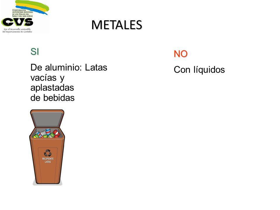 METALES SI De aluminio: Latas vacías y aplastadas de bebidas NO Con líquidos
