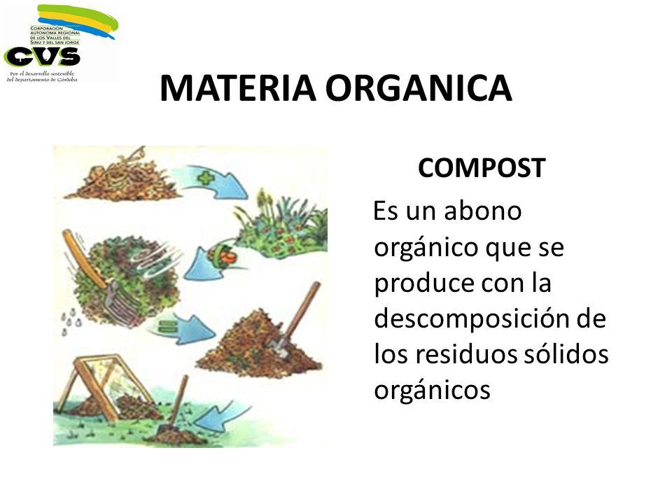 MATERIA ORGANICA COMPOST Es un abono orgánico que se produce con la descomposición de los residuos sólidos orgánicos