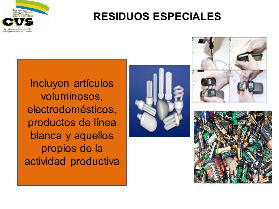 RESIDUOS ESPECIALES Incluyen artículos voluminosos, electrodomésticos, productos de línea blanca y aquellos propios de la actividad productiva